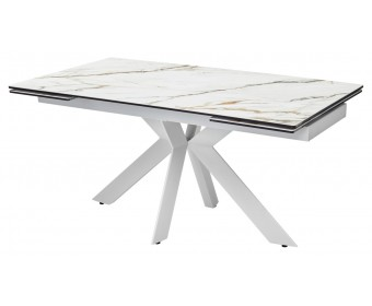 Стол BELLUNO 160 KL-188 Контрастный мрамор матовый, итальянская керамика/ белый каркас