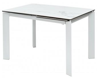 Стол CORNER 120 HIGH GLOSS STATUARIO керамика/ белый каркас