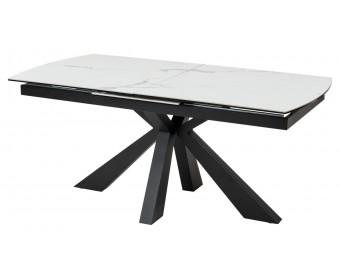 Стол ROVIGO 170 HIGH GLOSS STATUARIO Белый мрамор глянцевый, керамика/ черный каркас