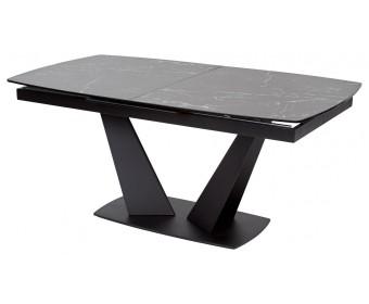 Стол ACUTO2 170 NERO KL-116 Черный мрамор матовый, итальянская керамика/ черный каркас