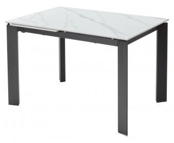 Стол CORNER 120 SINTERED STONE MATT WHITE MARBLE/ BLACK
