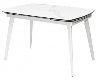 Стол ELIOT 120 HIGH GLOSS STATUARIO Белый мрамор глянцевый, керамика/ белый каркас
